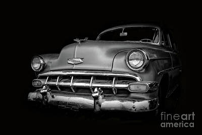 Photograph - Vintage Old Chevy Classic Black And White by Edward Fielding