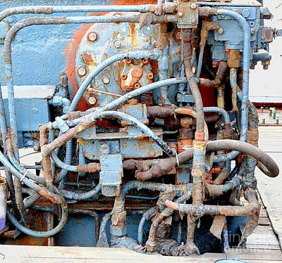 Art Print featuring the photograph Vintage Old Diesel Engine On A Ship by Yali Shi