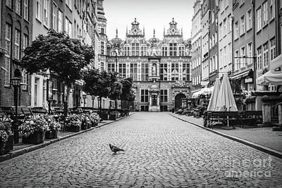 Photograph - Vintage Old Town Street. Black And White. by Michal Bednarek