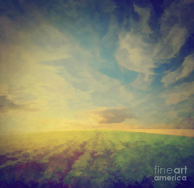 Aged Photograph - Vintage Painting Of A Potato Field At Sunset by Michal Bednarek