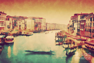 Italian Sunset Photograph - Vintage Painting Of Venice, Italy. Gondola Floats On Grand Canal by Michal Bednarek