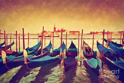 Photograph - Vintage Painting Of Venice, Italy. Gondolas On Grand Canal  by Michal Bednarek