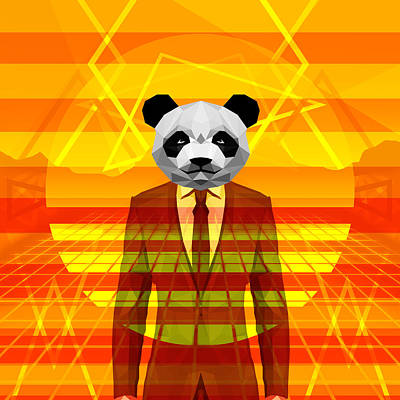 Science Fiction Drawing - Vintage Panda by Gallini Design