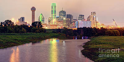 Photograph - Vintage Panorama Of Dallas Skyline At Night - Dallas Dfw North Texas by Silvio Ligutti
