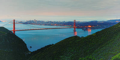 Golden Gate Bridge Photograph - Vintage Panorama Of The Golden Gate Bridge From The Marin Headlands - San Francisco California by Silvio Ligutti