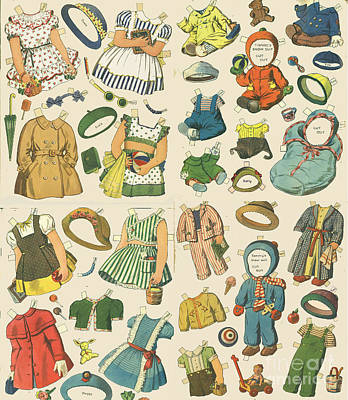 Mixed Media - Vintage Paper Dolls  by Edward Fielding