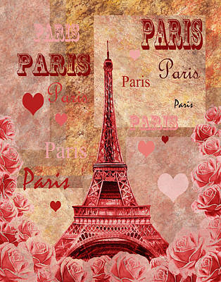 Painting - Vintage Paris And Roses by Irina Sztukowski