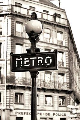 Of Artist Photograph - Vintage Paris Metro by John Rizzuto
