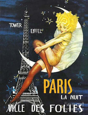 Paris Wall Art - Painting - Vintage Paris Moon by Mindy Sommers