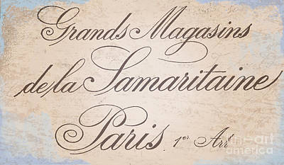 Old Signs Painting - Vintage Paris Script Sign by Mindy Sommers