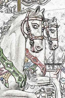 Digital Art - Vintage Parisian Carousel Horses Paris France At The Base Of Eiffel Tower Colored Pencil Digital Art by Shawn O'Brien