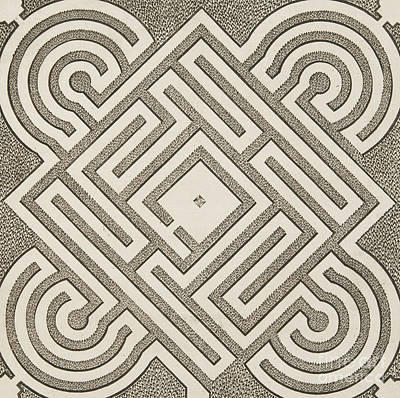 Maze Art Drawing - Vintage Parterr Plan by Andre Mollet
