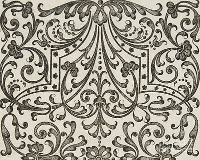 Repeat Drawing - Vintage Parterre Design by Jacques Mollet