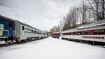 Photograph - Vintage Passenger Train Cars In Winter by Edward Fielding