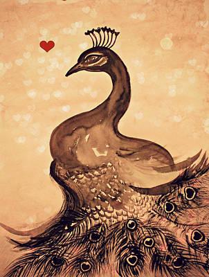 Painting - Vintage Peacock by Alma Yamazaki