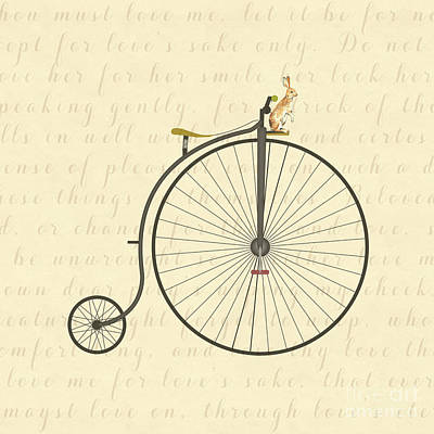 Digital Art - Vintage Penny Farthing Bunny by Leah McPhail