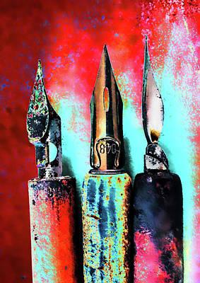 Vintage Pens Trio Art Print by Carol Leigh