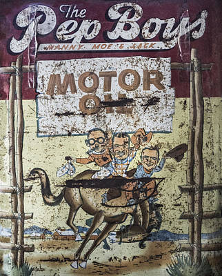 Art Print featuring the photograph Vintage Pep Boys Sign by Christina Lihani