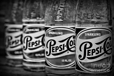 Photograph - Vintage Pepsi Bottle Collection In Black And White by Paul Ward