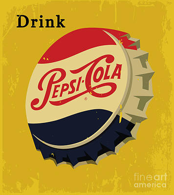 8c3a52ee875e93 Pepsi Bottle Cap Wall Art - Digital Art - Vintage Pepsi Cola Advertising  Signboard 01 by