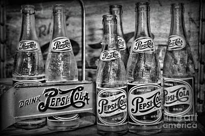 Photograph - Vintage Pepsi Metal Carrier Black And White by Paul Ward