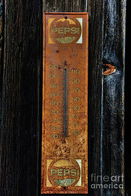 Photograph - Vintage Pepsi Thermometer by Paul Ward
