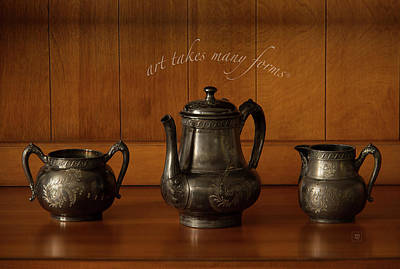 Photograph - Vintage Pewter Tea-serving Set by Yvonne Wright