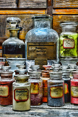 Mortar Photograph - Vintage Pharmacy - So Many Chemicals by Paul Ward