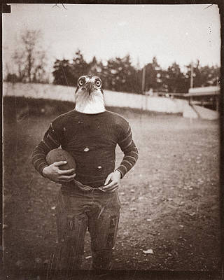Vintage Photo Of A Seahawk Football Player Print by Dylan Murphy