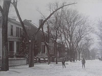 Vintage Photograph 1902 Snowball Fight New Bern Nc Art Print