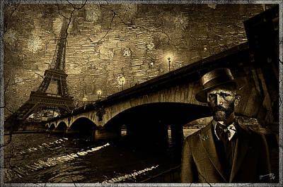 Eiffel Tower Drawing - Vintage Photograph Of Vincent In Paris by Jose A Gonzalez Jr