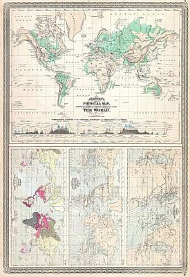 Physical Geography Drawing - Vintage Physical And Climate Map Of The World - 1870 by CartographyAssociates