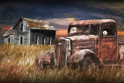 Photograph - Vintage Pickup With Abandoned Farm House by Randall Nyhof