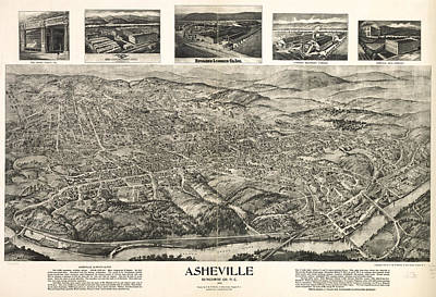 Asheville Drawing - Vintage Pictorial Map Of Asheville Nc  by CartographyAssociates