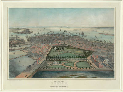 Boston Ma Drawing - Vintage Pictorial Map Of Boston Ma - 1850 by CartographyAssociates