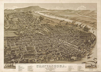 Map Of Tennessee Drawing - Vintage Pictorial Map Of Chattanooga  by CartographyAssociates
