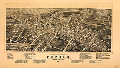 Vintage Pictorial Map Of Durham Nc  Art Print