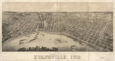 Evansville Drawing - Vintage Pictorial Map Of Evansville Indiana - 1880 by CartographyAssociates