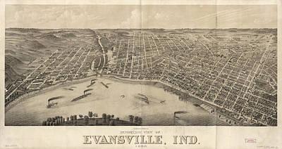 Vintage Pictorial Map Of Evansville Indiana - 1880 Art Print