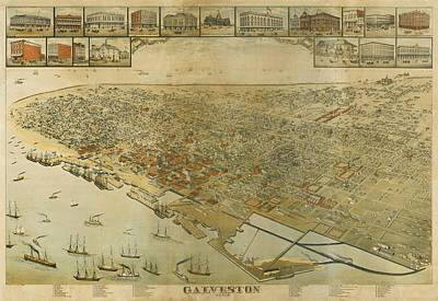 Texas Drawing - Vintage Pictorial Map Of Galveston Tx - 1885 by CartographyAssociates