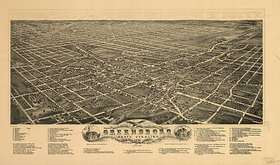 Vintage Pictorial Map Of Greensboro Nc - 1891 Art Print