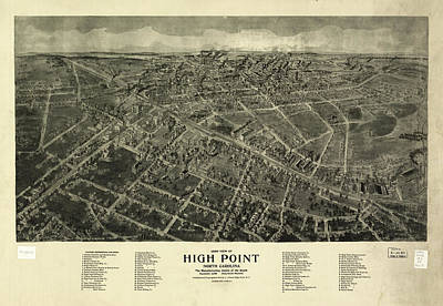 Vintage Pictorial Map Of High Point Nc - 1913 Art Print