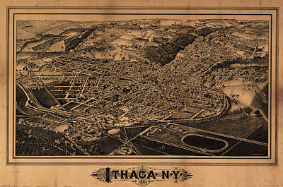 Vintage Pictorial Map Of Ithaca New York - 1882 Art Print by CartographyAssociates