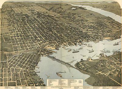 Vintage Pictorial Map Of Jacksonville Fl - 1893 Art Print