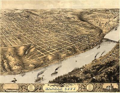 Kansas City Drawing - Vintage Pictorial Map Of Kansas City - 1869 by CartographyAssociates