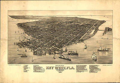 Key West Drawing - Vintage Pictorial Map Of Key West Fl - 1884 by CartographyAssociates