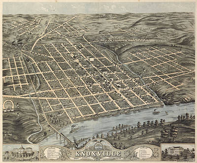 Map Of Tennessee Drawing - Vintage Pictorial Map Of Knoxville - 1871 by CartographyAssociates