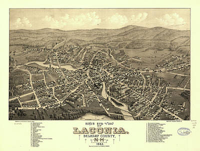 Claude Monet - Vintage Pictorial Map of Laconia NH - 1883 by CartographyAssociates