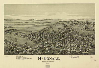 Mcdonalds Drawing - Vintage Pictorial Map Of Mcdonald Pa - 1897 by CartographyAssociates