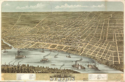 Map Of Tennessee Drawing - Vintage Pictorial Map Of Memphis Tennessee - 1870 by CartographyAssociates